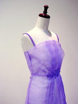 ウエディングを、Aラインダーツドレスにリメイク
