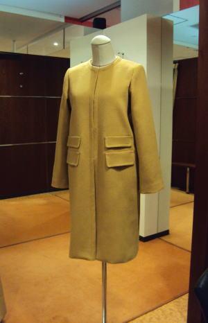 襟なしノーカラー2重ポケット付コート