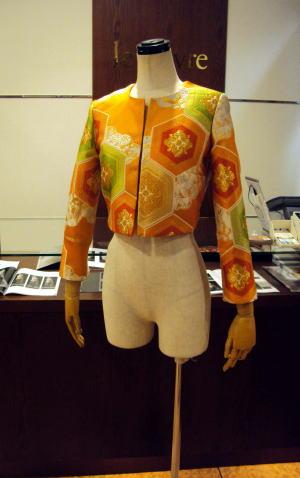 着物の帯でショートボレロのオーダー