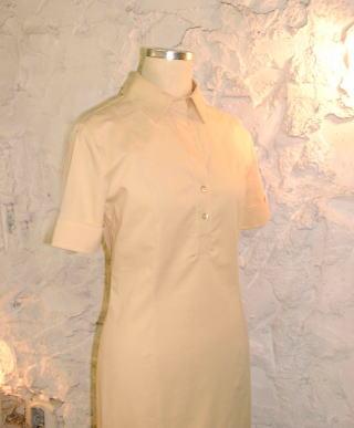 2つボタンのシャツ襟ワンピース 袖は半そで折り返しのダブルで ファスナーは左サイド てらいのないシンプルデザインは いつも新鮮 素材はやはり綿系がオススメ