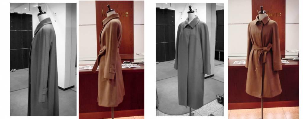 カシミアラグランコート リフォーム 綺麗台襟コート